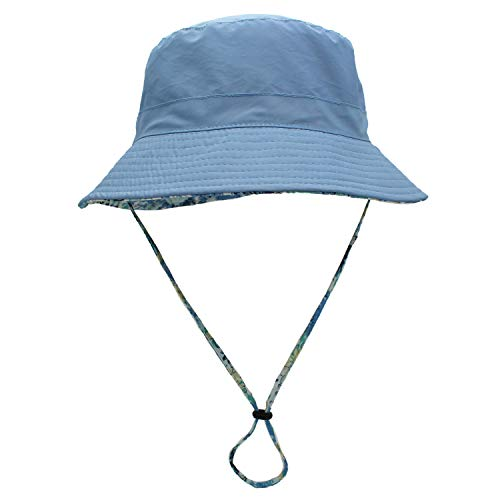 Womens Reversible Packable Fisherman Outdoor Bucket Hat with Chin Strap Sun Protective, Light Blue