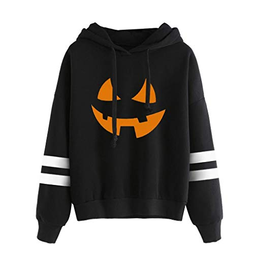 iYBUIA Cotton Women Round Neck Halloween Print Long Sleeve Casual Sweatshirt Pullover Tops(Black,M)