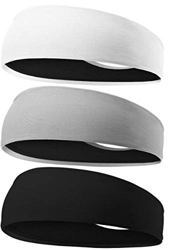 LIPMENT Cooling Headband, 3 Pack Workout Headband, Sport Headbands for Running, Crossfit, Working Out, Lifting, Men and Woman's Hairbands, Polyester and Lycra - Moisture Wicking Cooling Headband by LIPMENT