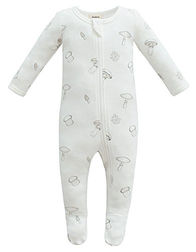 Owlivia Organic Cotton Baby Boy Girl Zip Front Sleep 'N Play, Footed Sleeper, Long Sleeve (Size 0-18 Month)(0-3Months,Mushroom)