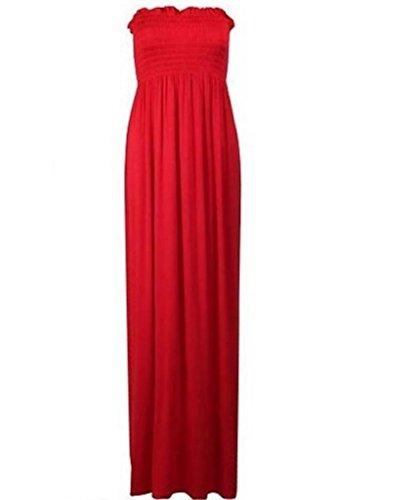 Women's Plain Sheering Bandeau Boob tube Gather Strapless Maxi Dress (SM, (Gather Tube Top)