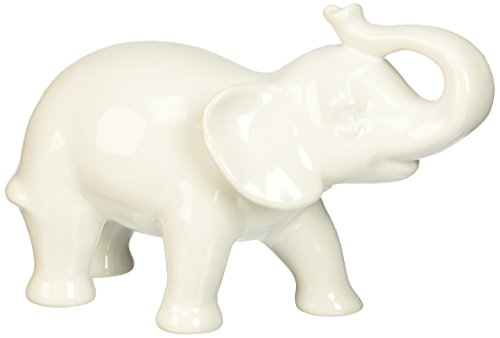 Abbott Collection Ceramic Elephant Figurine, White (Small)