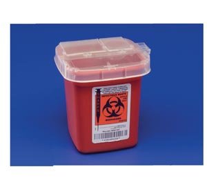 COVIDIEN/MEDICAL SUPPLIES PHLEBOTOMY SHARPS CONTAINERS Sharps Container, ½ Qt, Autodrop, Red, 100/cs