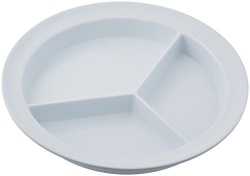 Sammons Preston Partitioned Scoop Dish, Melamine Plate with Dividers for Kids, Elderly, and Disabled, Divided Sections for Portion Control and Easy Scooping Walls for Limited Mobility