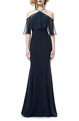 Marsen Women's Sexy Halter Off Shoulder Formal Long Elastic Evening Party Gown