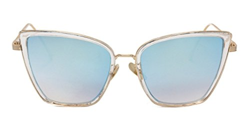 Flowertree Unisex JTS1883 Metal Square Cateye Sunglasses Large - Wire Sunglasses Wrapped