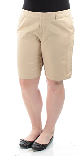 Flat Front Twill Shorts Ladies (Tommy Hilfiger Womens Twill Flat Front Bermuda, Walking Shorts Beige 2)