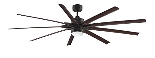 Fanimation FPD8149DZW Odyn Ceiling Fan with LED Light Kit and Remote, Wet rated, 84 inch, Dark Bronze with Dark Walnut Blades