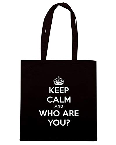 Speed Shirt Borsa Shopper Nera TKC1850 KEEP CALM AND WHO ARE YOU