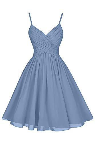Short V Neck A-Line Spaghetti Strap Formal Wedding Bridesmaid Cocktail Party Dresses with Pockets for Women Slate Blue