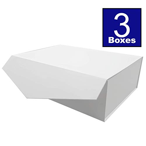 (Cohaja Matte White Gift Box with Lid   3 Pack   12 x 9 x 4 Inch   Magnetic Closure   Multiple use   Decorative Gift or Storage Boxes for Bridesmaid Proposals, Favors, Weddings, Office and More)