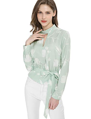 Allegra K Women's Choker V Neck Long Sleeves Tie Smocked Waist Cropped Floral Blouse Tops Green S (US 6)