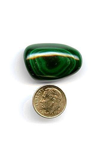 Malachite Tumbled Stone - Medium Large With Stone