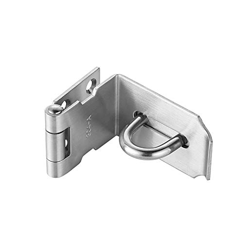JQK Door Hasp Latch 90 Degree, Stainless Steel Safety Angle Locking Latch for Push/Sliding/Barn Door, 1.5mm Thickness Satin Nickel, 4 -