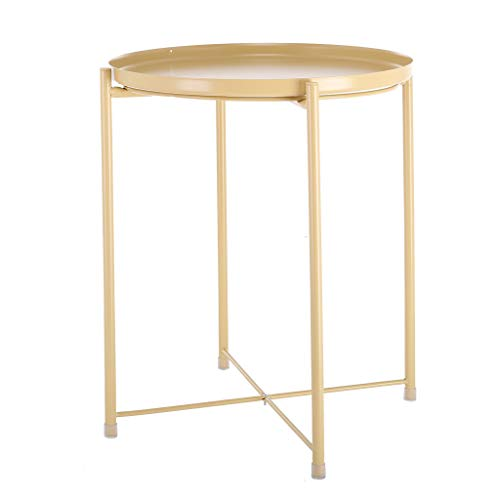 ♔MiaoC Coffee Table Small Round Occasional Side End Table for Living Room Industrial Style Vintage Wood Look Metal Frame ()