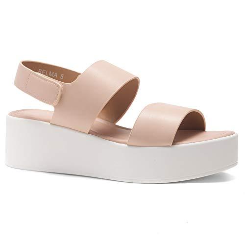 25f048acaf0 Herstyle Belma Women s Open Toe Ankle Strap Platform Wedge Sandals Mauve 8.0