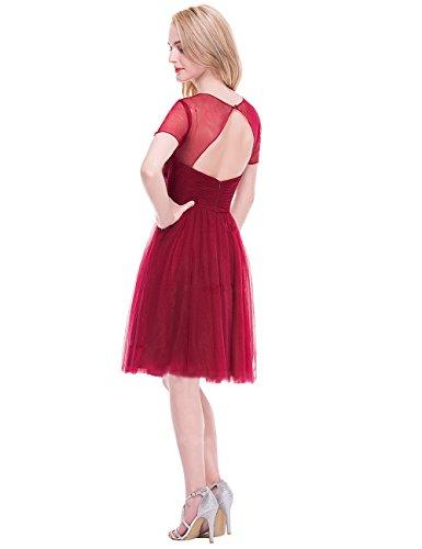 Fuchsie Kurzes Tüll Erosebridal mit Rüsche Knielang Brautjungfernkleider Abendkleid x606qnvga