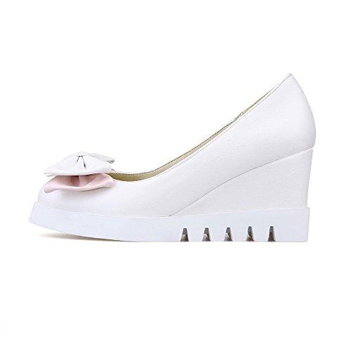 Punta shoes Tutto Chiuso Tirare Delle Bianco Solido Alti Donne Su Pompe Weipoot Talloni 6Pq1xSS