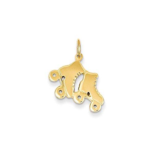 14k Yellow Gold Roller Skates Charm (16 x 18 mm) Skate 14k Gold Charm