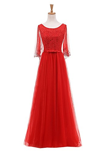 QY Bride Fairy Tulle Wedding Guest Bridesmaid Dresses with Bead Cape 20 Red