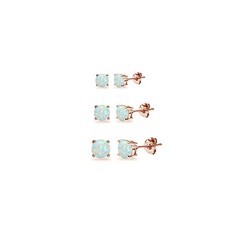 3-Pair Set Rose Gold Flash Sterling Silver Simulated White Opal Round Stud Earrings, 3mm 4mm 5mm Drop Single Stone Post Earrings