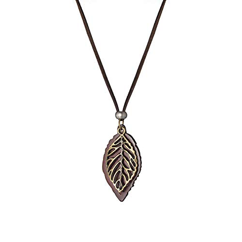 (ZOBDX Leaves Leaf Pendant Necklace Pearl Adjustable Bohemian Style Flower Tassel Long Chain Sweater Necklace for Girls Women (Brown))