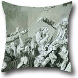 Oil Painting Jean-Baptiste Greuze - A Father Curses Hos Ungrateful Son, 1777 Pillow Cases ,best For Divan,indoor,dining Room,car Seat,shop,couples 18 X 18 Inches / 45 By 45 Cm(twin Sides) ()