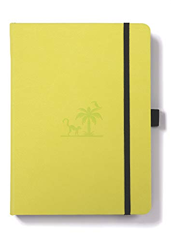 Dingbats Earth Notebook Medium A5+ (6.2 x 8.5), Hardcover, PU Leather, 100gsm Coated Paper, Numbered, Pocket, Pen Holder, 2 Bookmarks (Dotted with Bullet Journaling Features, Lime - - Friendly Journal Earth