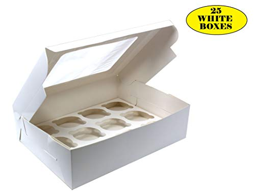 Bakery Boxes with Windows and Inserts for 12 Cupcakes or Muffins; Pastries, Baked Goods, Treats. Set of 25 White Cardboard Boxes -Take Out Box Containers. Perfect for Any Baker. 12.25