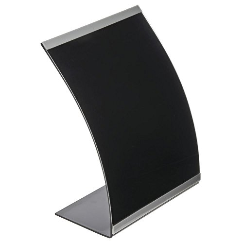 Sign Holder, Black Acrylic Curved with Silver Accent Strip - 8 1/2