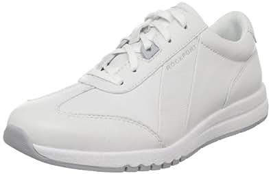 Rockport Women's Zana Fashion Sneaker,Winter White Leather,5 W US