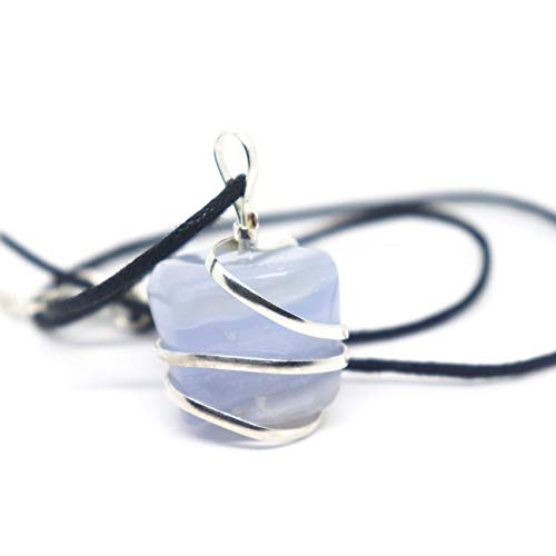 Blue Lace Agate Gemstone Pendant Necklace - Natural Crystal Healing | Stone of Encouragement and Support| Throat Chakra & Communication Aid | for Security and Self-Confidence| Jewelry for Men & Women