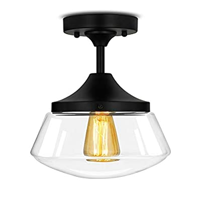 """Industrial Semi-Flush Mount Ceiling Light, 10"""" Clear Glass Schoolhouse Farmhouse Pendant Lighting Fixture with Matte Black Finish, UL Listed"""