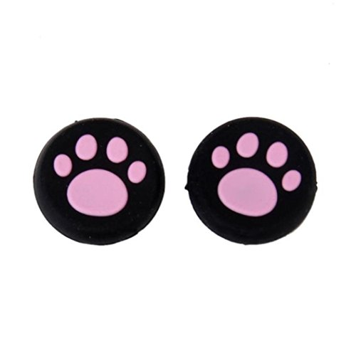 Clearance ! ღ Ninasill ღ Exclusive 1 Pairs Cat's Paw Silicone Gel Thumb Grips Caps For Nintendo Switch Controller (Pink)