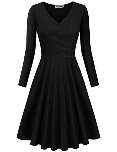 KASCLINO Casual Women Dress,Elegant V Neck Shirred Drape Retro Curve Prom Dress Black M
