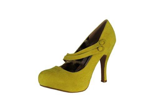 26 Almond Toe Double Mary Jane Straps Platform High Heel Stiletto Pump Shoes, Lemon Yellow Green Faux Suede, 6.5 B (M) US ()