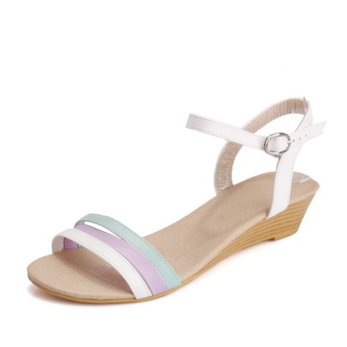 Materiale Morbido Basso Assortiti Open Womens Sandali Tacco Toe Con Fibbia Voguezone009 Pu Bianca Colori zx0YIqxw