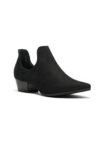 HerStyle Womes Ulyana Suede Side Cutout Pointy Toe Cowgirl Booties Black v9EV2meuR
