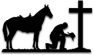 Cowboy and Horse decal-Vinyl wall art-Horse Prayers sticker-40 X 20 inches 806-HW. Horse
