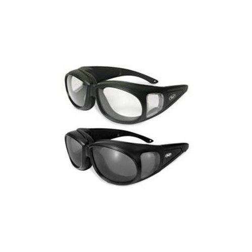 Safety Glasses Motorcycle Sunglasses - 2 Motorcycle Safety Sunglasses Fits Over MOST Rx Glasses Smoke and Clear Day & Night Usage Meets ANSI Z87.1 Standards For Safety Glasses Has Soft Airy Foam Padding