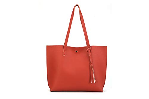 Nodykka Women Tote Bags Top Handle Satchel Handbags PU Pebbled Leather Tassel Shoulder - Lined Leather Satchel