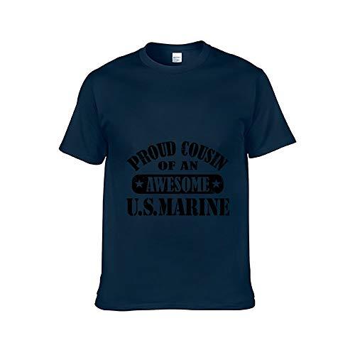 (KAtube Unisex Short Sleeve Proud Cousin of US Marine Creative Chic Cotton Adult Tee Navy)