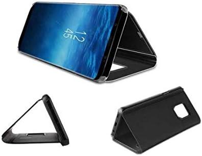 Clear View Etui /à Rabat Compatible Coque Huawei P30 Pro Translucide El/égant Antichoc Verre Tremp/é avec Stand Flip Black Miroir Mirror Makeup