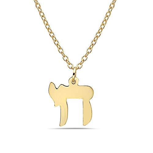 - Pori Jewelers 14K Solid Yellow Gold Jewish Chai Charm Pendant in 14K Gold Diamond Cut Cable Chain Necklace -16