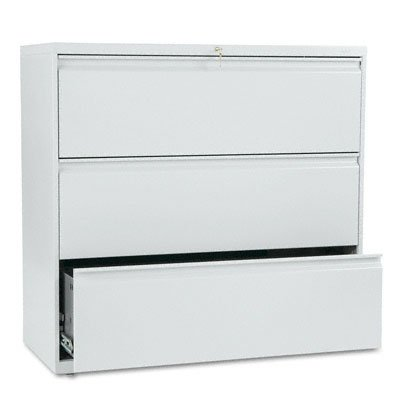 HON 893LQ 800 Series 42 by 19-1/4-Inch 3-Drawer Lateral File, Light Gray