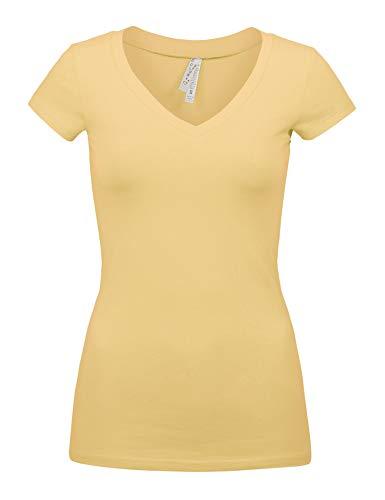 (Womens Basic Pale Banana Colors Slim Fit V-Neck Top (1001-PALE Banana-M))