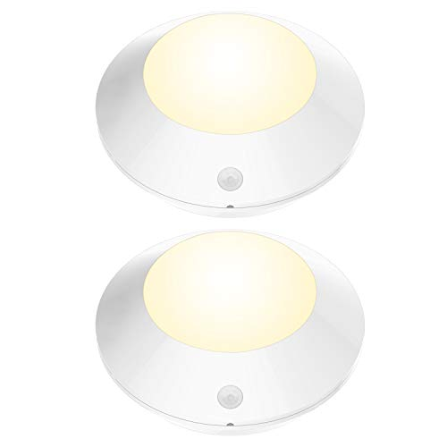 - BIGLIGHT Wireless Battery Operated LED Motion Sensor Ceiling Light, Cordless Bright Motion Lights for Hallway Shower Closet Pantry Entrance Corridor Shed, 5 Inches, 250 Lumens, Warm White, 2 Pack