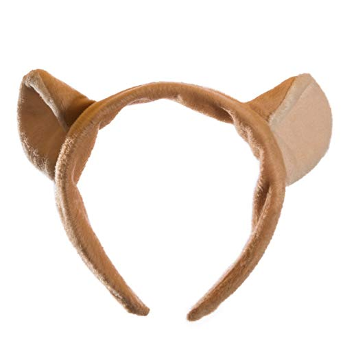 Wildlife Tree Plush Mountain Lion Ears Headband Accessory for Cougar Costume, Cosplay, Pretend Animal Play or Safari Party -
