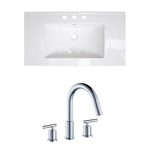 "Jade Bath JB-15636 36"" W x 20"" D Ceramic Top Set with 8"" o.c. CUPC Faucet, White chic"