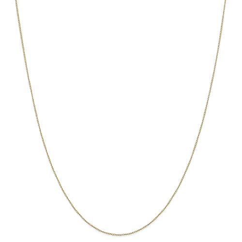 14k Yellow Gold Thin 18in 0.42mm Carded Curb Necklace Chain (Jewelry Pot 14k Gold Chain)